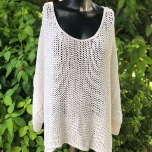 Free People White Over Sized Slouchy Sweater M